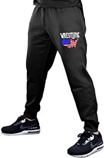 Men's Wrestling American Flag Map Black Fleece Gym Jogger Sweatpants