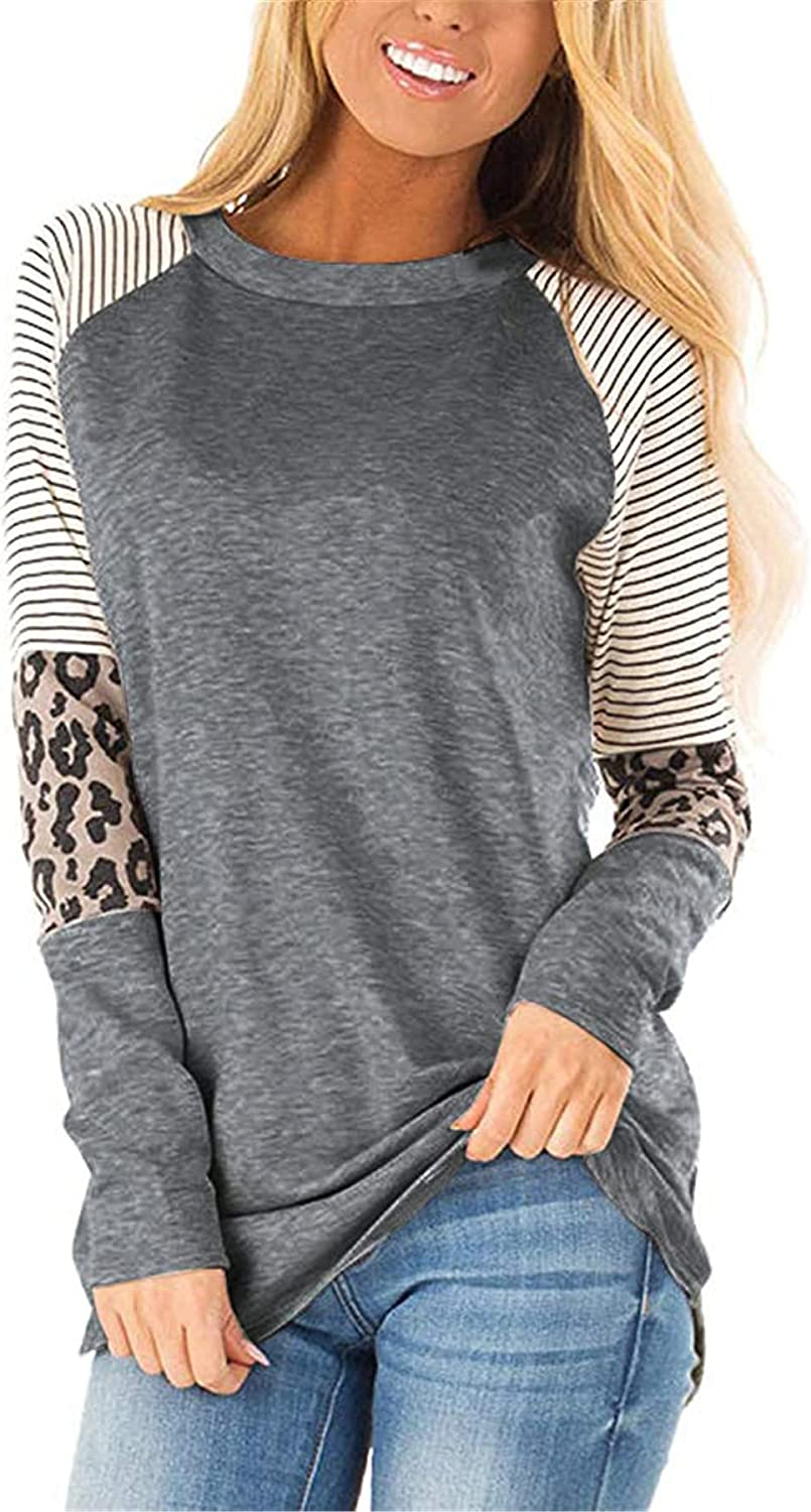 Andongnywell Womens Color Block Leopard T Shirts Casual Striped Long Sleeve Tunic Tops Tunics Blouses