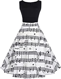 5db4345fdd ZAFUL Women's 50s Vintage Sleeveless Music Notes Tea Dress Cocktail Party  A-Line Midi Dress