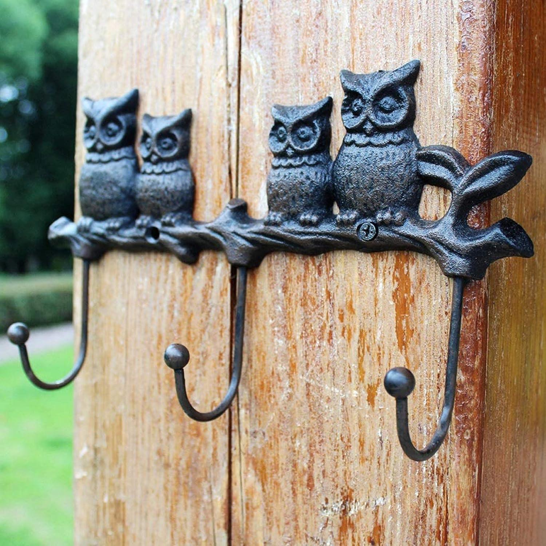 XUYRENP European Retro Cast Iron Cute Leaves Owl Wall Pendant Home Hook Decorations