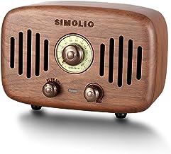 SIMOLIO Portable Vintage Retro Bluetooth Speakers with Powerful 2x8W Ultimate Stereo Sound, Nature Black Walnut Wood Bluet...