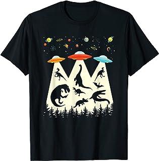 Funny Dinosaur UFO Lover Gift Retro Vintage Alien Abduction T-Shirt