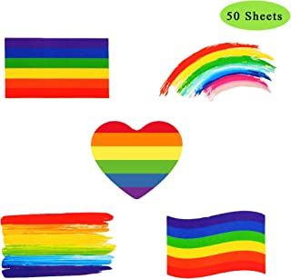 Rainbow Temporary Tattoos, Waterproof Removable Rainbow Flag Tattoo Stickers for Gay Pride Parade Celebration (Pattern-50)
