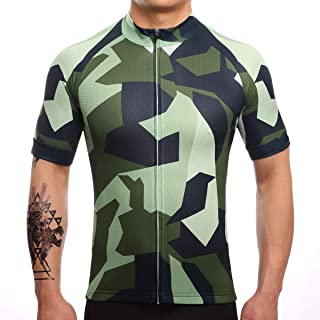 Men's Cycling Jersey Camouflage Short Sleeve Summer Bicycle Clothing Quick Dry MTB Jersey Cycling Shirts