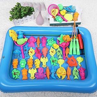 d10aa115be54 UNKB Juego de Piscina de Juguete de Pesca magnética para niños de 3 años y  Medio