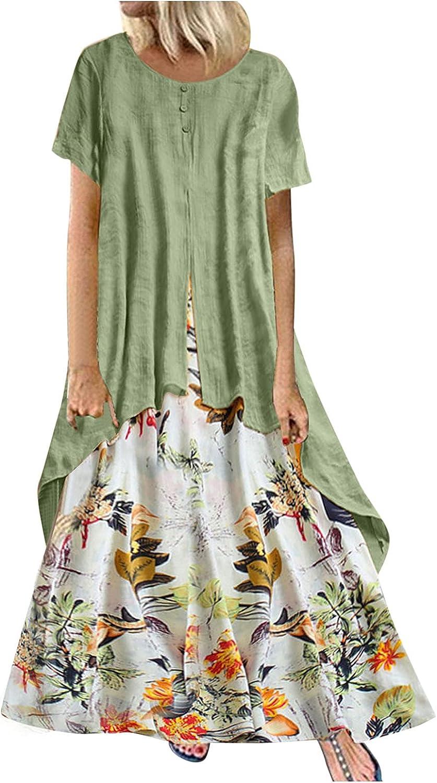 PUREBASS Maxi Dress for Women Casual Summer Long Sunmmer Crew Neck Beach Dress Short Sleeve Bono Dress