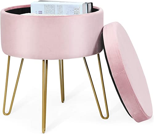 """popular Giantex Velvet Footrest Stool Round with Storage Function, Gold Metal Legs and Removable sale Seat, Modern Dressing Vanity Chair for Home, Living Room, Bedroom Storage outlet online sale Ottoman (15"""" x 12"""" x 18"""", Pink) online sale"""