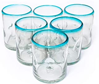 Blue Rim Mexican Kitchen Fiestaware Thick Durable Lead Free Recycled Clear Hand Blown Drinking Glasses Cups Stemless Juice Margarita Wine Acqua Picado Glassware 10 oz. Dishwasher Safe Set of 6