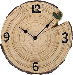 Lily's Home Woodland Cabin Tree Trunk Rustic Indoor Outdoor Wall Clock, 9.75 Inch