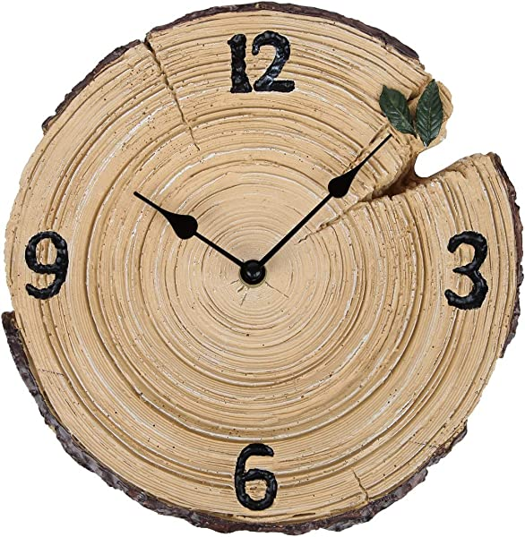Lily S Home Woodland Cabin Tree Trunk Rustic Indoor Outdoor Wall Clock 9 75 Inch
