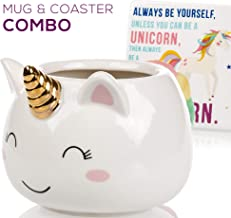 Unicorn Mug & Coaster Gift Set - Unique Hand Painted Novelty 3D Ceramic Coffee Mugs Gifts. Includes Cute Coaster With a Fun Always be a Unicorn Phrase. Cool Cup for Coffee Tea or Kitchen Bedroom Decor