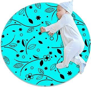 Blå blommig, barn rund matta polyester överkast matta mjuk pedagogisk tvättbar matta barnkammare tipi tält lekmatta