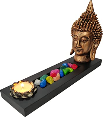 Collectible India Resin Buddha Showpiece, Buddha Head - 7 x 3 x 2 Inches, Base - 11.5 x 3.5 x 1.5 Inches , Brown and Black