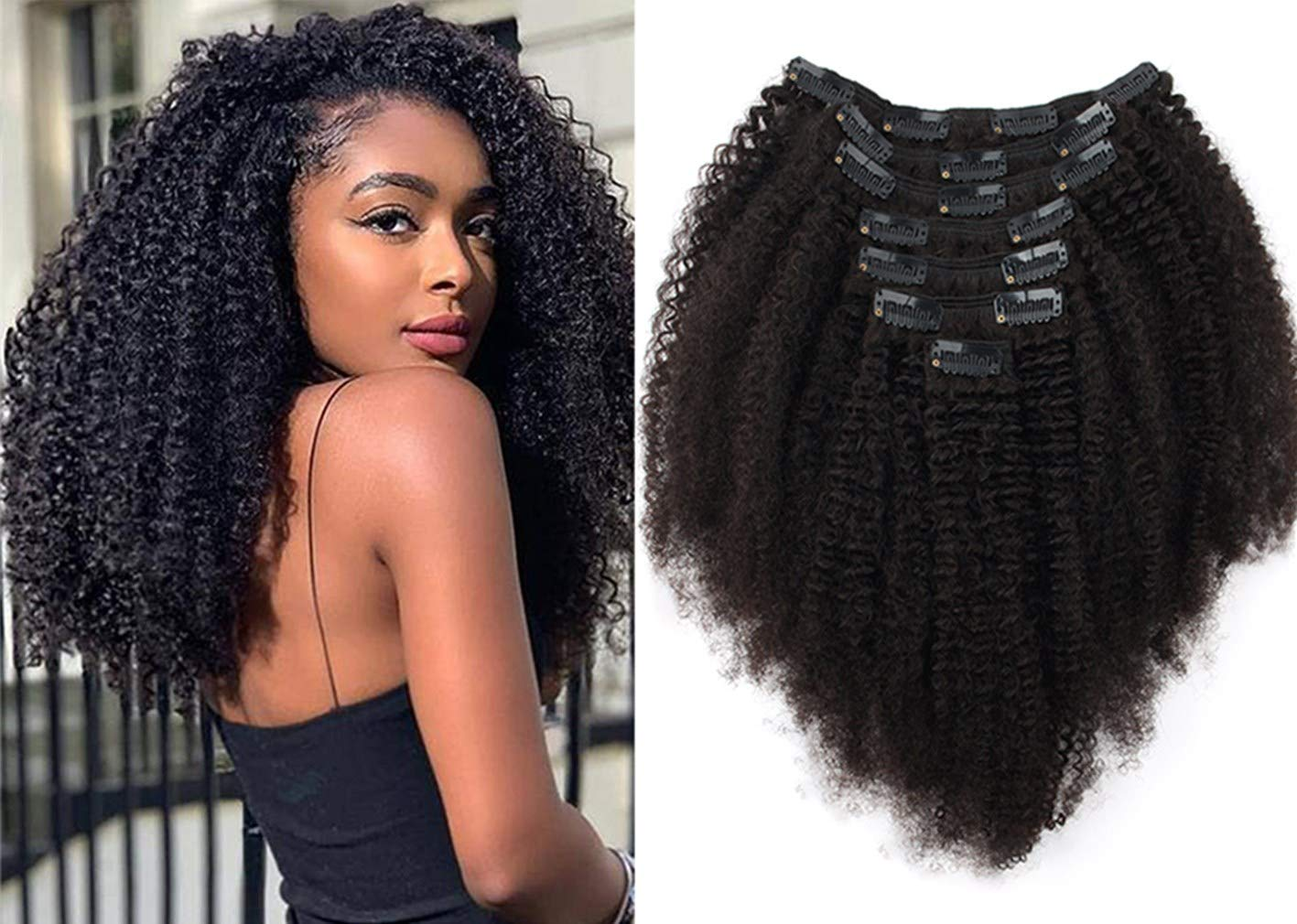 Excellence Luxiso Afro Curly 20 Inch Clip Extensions H Remy Hair Manufacturer regenerated product Virgin in