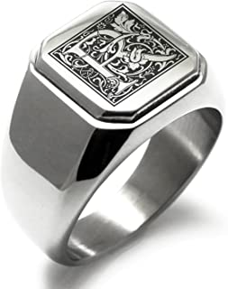 Stainless Steel Letter R Alphabet Initial Floral Box Monogram Square Flat Top Biker Style Polished Ring