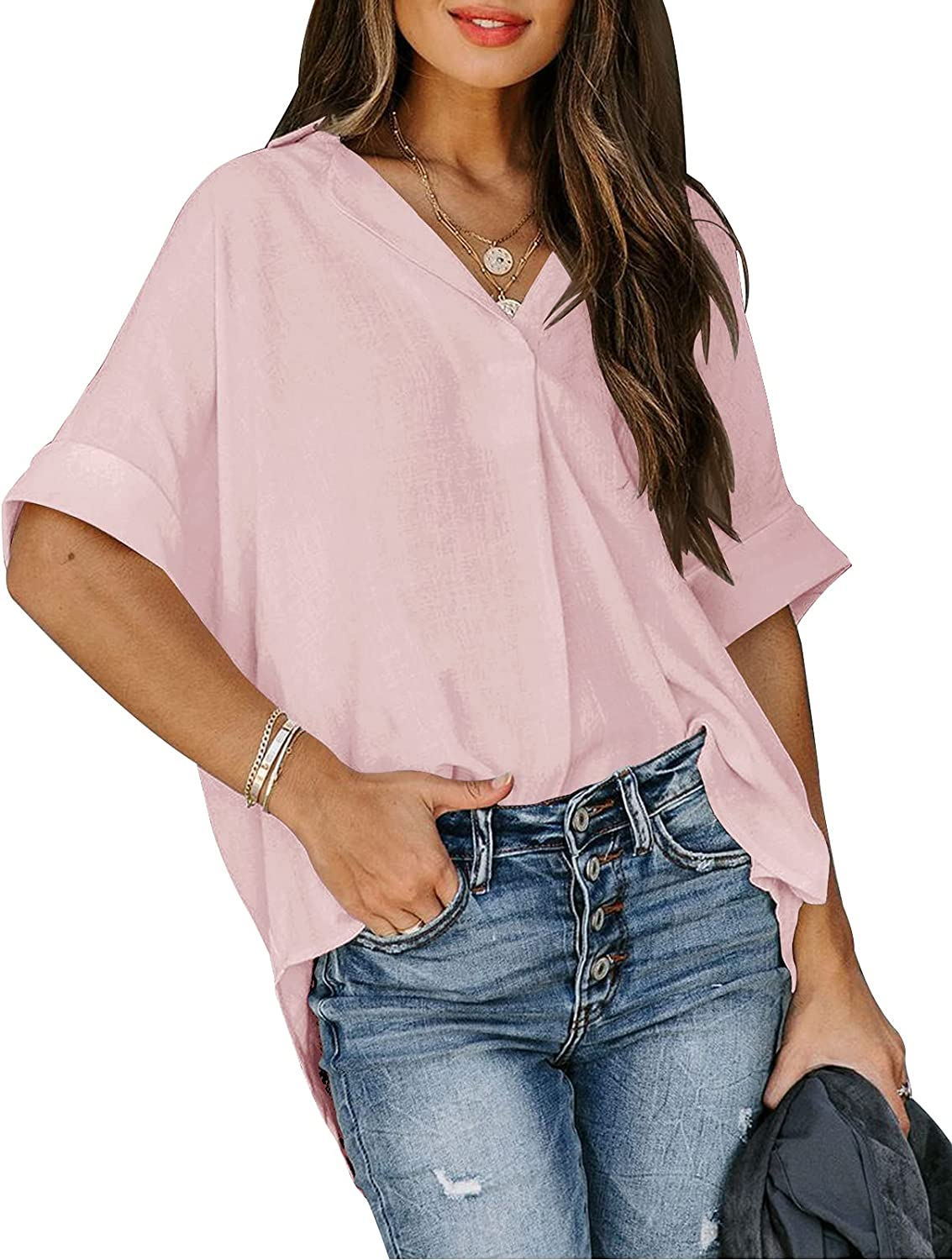 WMZCYXY Women's Casual V Neck Short Sleeve Blouse Button Down Shirts Tops
