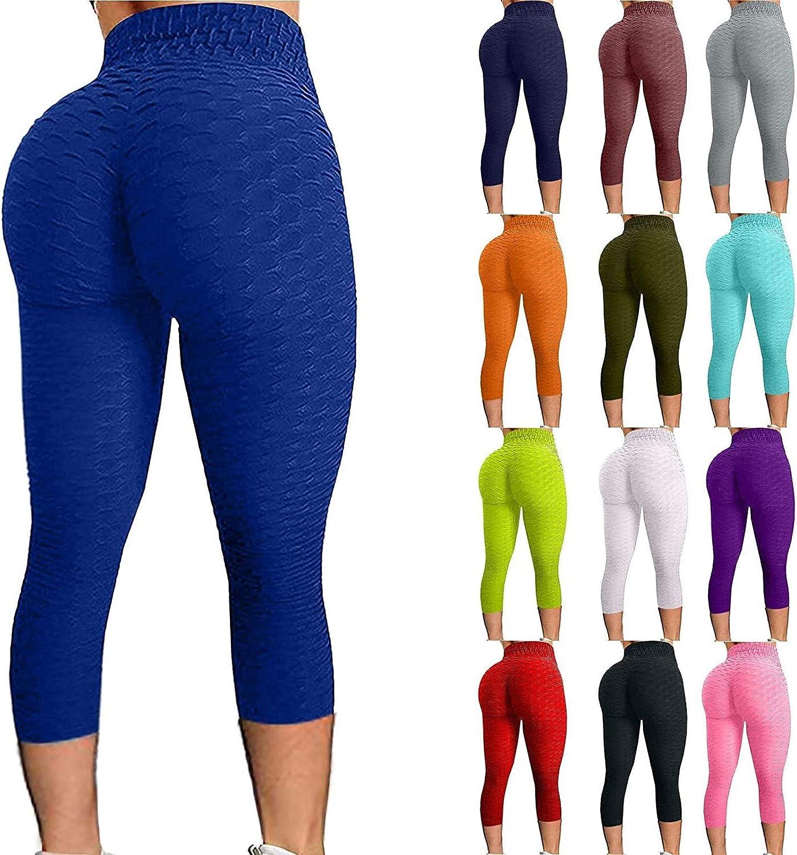 BingYELH Leggings for Women, Women's Bubble Hip Butt Lifting Legging High Waist Workout Tummy Control Leggings