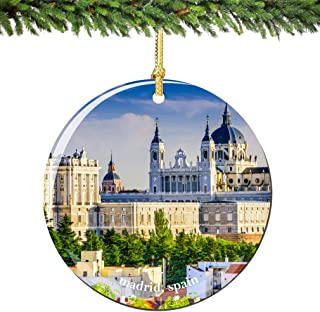 City-Souvenirs Madrid Spain Christmas Ornament 2.75 Inch Double Sided Porcelain Madrid Christmas Ornaments