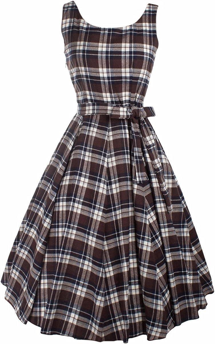 SUNYIK A Line Dress for Women,Plaid Sleeveless Rockabilly Swing Dress Vintage 1950s Dresses Brown