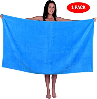 Turquoise Textile Oversize Terry Velour Bath, Beach, Pool, Spa Towel, 100% Natural Soft Turkish Cotton, Made in Turkey (1 Towel, Aqua)