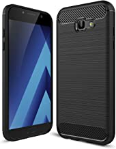 """Galaxy A7 2017 Case, Ikwcase Carbon Fiber Skin Resilient TPU Shockproof Armor Protective Case Cover for Samsung Galaxy A7 2017 A720 5.7"""" Black"""