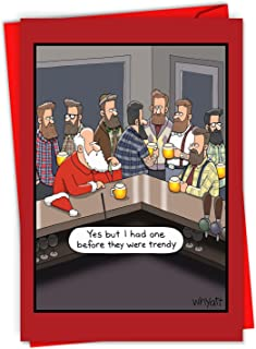 Christmas Hipsters - 12 Boxed Merry Christmas Note Cards with Envelopes (4.63 x 6.75) - Beared Men and Santa Claus, Holiday Drinking - Cartoon Xmas Greeting Card for Husband, Men C6251XSG-B12x1