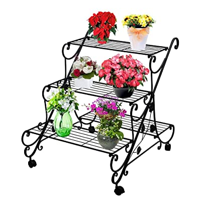 AISHN Plant Flower Stand Rack Display with Whee...