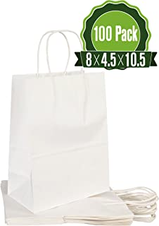 White Kraft Paper Gift Bags Bulk with Handles 8 X 4.5 X 10.5 [100Pc]. Ideal for Shopping, Packaging, Retail, Party, Craft, Gifts, Wedding, Recycled, Business, Goody and Merchandise Bag
