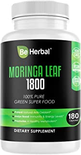 BE HERBAL Moringa Capsules 1800mg – Highest Potency Pure Leaf Powder - Complete Green Superfood Supplement - Energy, Metabolism, and Immune Booster – 180 Vegan Capsules