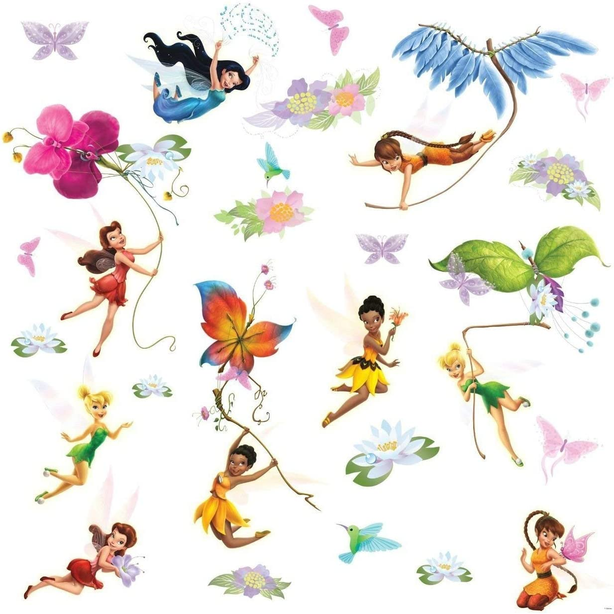 Roommates Rmk1493scs Disney Fairies Wall Decals With Glitter Wings Wall Stickers Murals Amazon Canada
