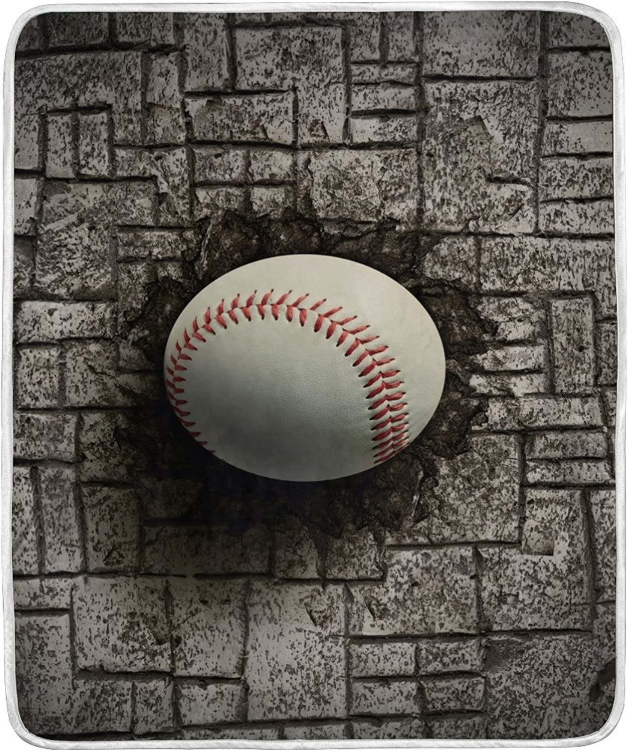ALAZA Home Decor Baseball Embedded in Brick Wall Sport Soft Warm Blanket for Bed Couch Sofa Lightweight Travelling Camping 60 x 50 inch Throw Size for Kids Boys Women