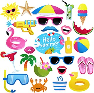Luau Photo Booth Props Beach Pool Party Favors Summer Party Photo Props for Baby Shower, Birthday, Hawaii