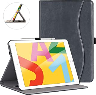 ZtotopCase for New iPad 7th Generation 10.2 Inch 2019, Premium PU Leather Slim Folding Stand Cover with Auto Wake/Sleep, Multiple Viewing Angles for Newest iPad 7th Gen 10.2'' 2019, Dark Grey
