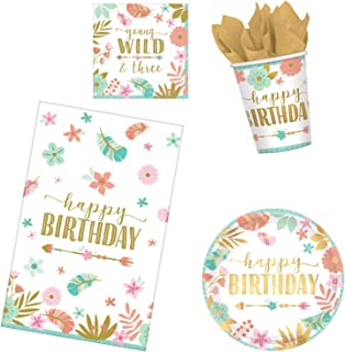 BOHO 3rd Birthday Party Supplies Pack for 16 Guests | Girl Young Wild and Three Theme (Basic ParteePak)