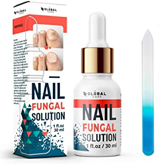 Premium Nail Fungal Solution by Global Care, Suitable for Finger and Toe nail | Contains Argan Oil and Tea Tree Oil | 30ml | Free nail file and nail brush.