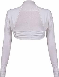 Blanc Purple Hanger Haut Cardigan Bol/éro Femme Longue Manche Extensible Bolero Nou/é Devant EU 40-42