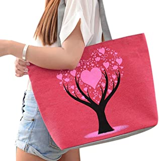 Wultia - Bags for WAMEN Fashion Cute Printing Women Canvas Bags Shoulder Bag Casual Handbag Bolsa Feminina RED