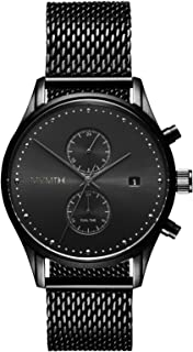 MVMT Voyager Watches | 42 MM Men's Analog Watch | Stainless Mesh Wristband (Black)