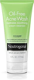 Neutrogena Oil-Free Acne Face Wash Redness Soothing Cream Facial Cleanser with Salicylic Acid Acne Medicine, 6 fl. oz