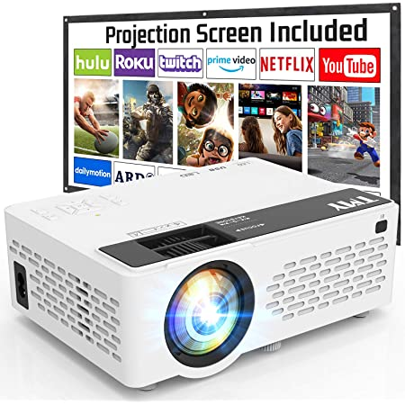 T M Y Projector 6500 Lumen with 100 Inch Projector Screen, 1080P Full HD Supported Video Projector, Mini Movie Projector Compatible with TV Stick HDMI VGA USB TF AV, for Home Cinema & Outdoor Movie.