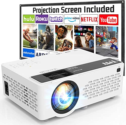 T M Y Projector 6500 Lumen with 100 Inch Projector Screen, 1080P Full HD Supported Video Projector, Mini Movie Projec...