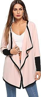 ROMWE Women's Lightweight Waterfall Collar Long Sleeve Open Front Cardigan Coat
