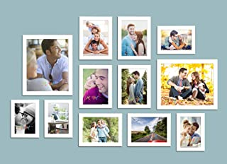 Art Street Striking Glorious Set of 12 Individual White Fiber Wood Wall Photo Frames Wall Hanging (Mix Size)(4 Units 4X6, ...