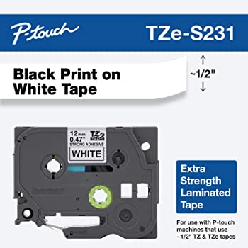 "Brother Genuine P-touch TZE-S231 Label Tape, 1/2"" (0.47"") Extra Strength Adhesive Laminated P-touch Tape, Black on White, Laminated for Indoor or Outdoor Use, Water Resistant, 26.2 Feet (8M), Single-Pack"