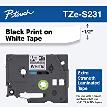 """Brother Genuine P-touch TZE-S231 Label Tape, 1/2"""" (0.47"""") Extra Strength Adhesive Laminated P-touch Tape, Black on White, ..."""