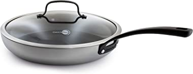 """GreenPan Napa Stainless Steel Ceramic Nonstick, Frypan with lid, 12"""", Gray"""
