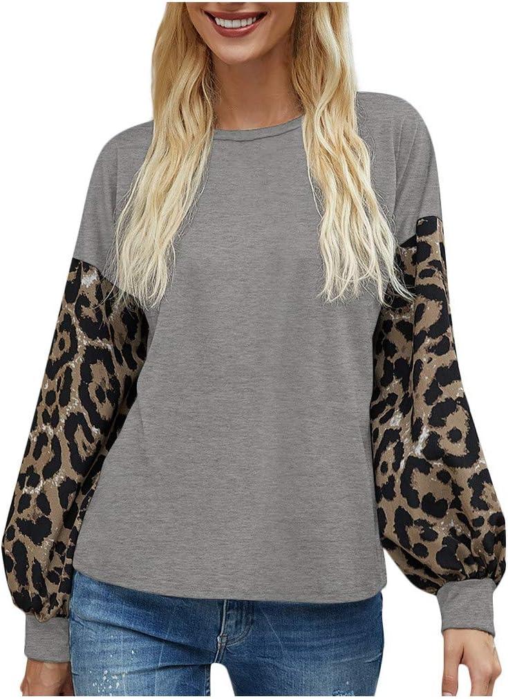 Kaifongfu Womens Tunic Shirts Lantern Leopard Stitch Ranking TOP2 Sleeve Pull Max 61% OFF