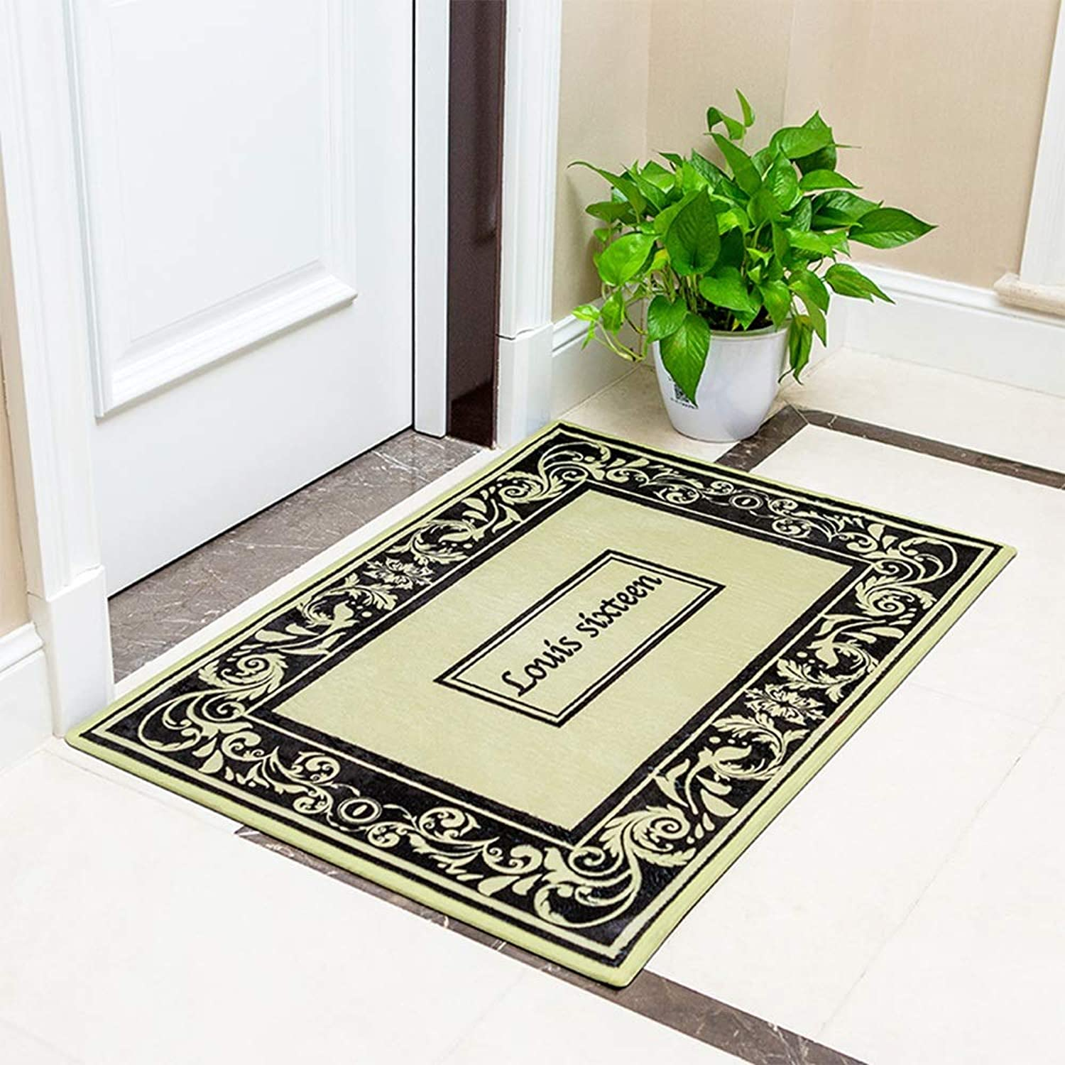 DDSS Door mat Floor mat - Flannel, Absorbent Non-Slip, Soft and Thick, Home Kitchen Bedroom Bathroom Absorbent mat Bathroom Door mats - 5 colors 2 (color   E, Size   50  80CM)