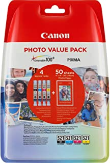 Canon CLI-521 B/C/M/Y, 7 ml Standard Capacity, 4-pack, 2448017 (Standard Capacity, 4-pack Blister)
