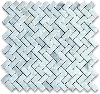 Calacatta Gold Italian Calcutta Marble Herringbone Mosaic Tile 5/8 x 1 1/4 Tumbled